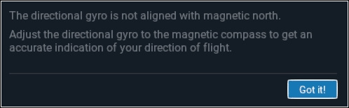 The directional gyro is not aligned with magnetic north.